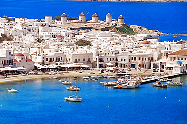 Aerial view of Mykonos, Hora and harbour, Cyclades, Greek Islands, Greece, Mediterranean, Europe