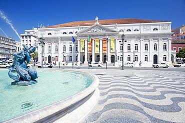 Praca Dom Pedro IV (Rossio Square) and Lisbon Opera House, Lisbon, Portugal, Europe