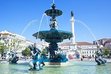 Rossio Square (Praca Dom Pedro IV), Lisbon, Portugal, Europe