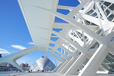 Principe Felipe Science Museum with Hemisferic in background, City of Arts and Sciences, Valencia, Spain, Europe