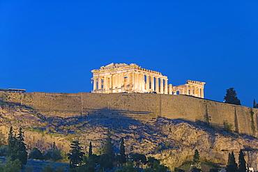 Parthenon at dusk, Acropolis, UNESCO World Heritage Site, Athens, Greece, Europe