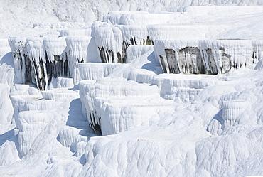 Gleaming white travertine terraces, nicknamed Cotton castles, Pamukkale, UNESCO World Heritage Site, Anatolia, Turkey, Asia Minor, Eurasia