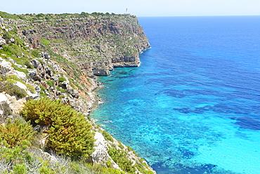 Sa Mola lighthouse, Formentera, Balearic Islands, Spain, Mediterranean, Europe