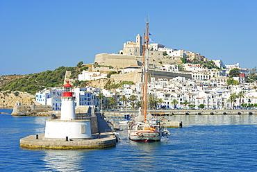 Ibiza old town and harbor, Ibiza, Balearic Islands, Spain, Mediterranean, Europe