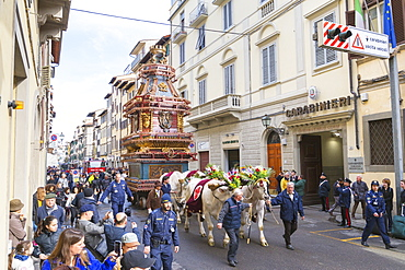 An ornate Ox cart for the Explosion of the Cart festival (Scoppio del Carro) where on Easter Sunday a cart of pyrotechnics is lit, Florence, Tuscany, Italy, Europe