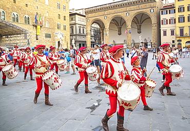Drummers in Calcio Storico Fiorentino festival at Piazza della Signoria, Florence, Italy, Europe