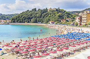 Beach, elevated view, Lerici, La Spezia district, Liguria, Italy, Europe