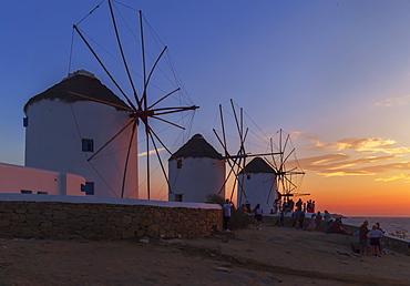 Windmills Kato Mili at sunset, Mykonos Town, Mykonos, Cyclades Islands, Greek Islands, Greece, Europe