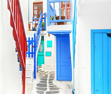 Characteristic colourful staircases, Mykonos Town, Mykonos, Cyclades Islands, Greek Islands, Greece, Europe