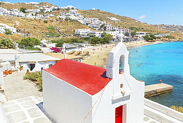 Orthodox chapel near the beach, Agios Stefanos, Mykonos, Cyclades Islands, Greek Islands, Greece, Europe