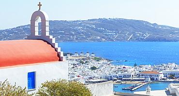 Greek Orthodox chapel overlooking Mykonos Town, Mykonos, Cyclades Islands, Greek Islands, Greece, Europe