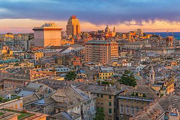 Cityscape, top view, Genoa, Liguria, Italy