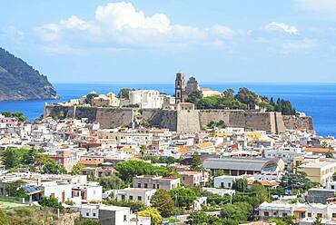 Lipari Town, elevated view, Lipari Island, Aeolian Islands, UNESCO World Heritage Site, Sicily, Italy, Mediterranean, Europe