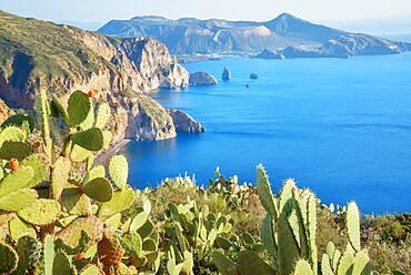 View of Lipari and Vulcano island from Belvedere Quattrocchi, Lipari Island, Aeolian Islands, UNESCO World Heritage Site, Sicily, Italy, Mediterranean, Europe