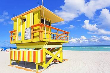 Art Deco Lifeguard hut on South Beach, Ocean Drive, Miami Beach, Miami, Florida, USA