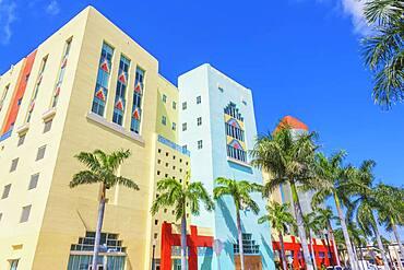 Art deco buildings on Washington Avenue, South Beach, Miami, Florida, USA