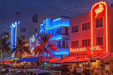 Ocean drive by night, South Beach, Miami, Florida, USA