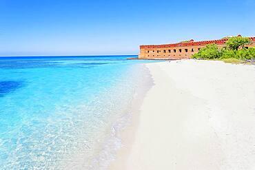 Sandy beach, Fort Jefferson, Dry Tortugas National Park, Florida, USA
