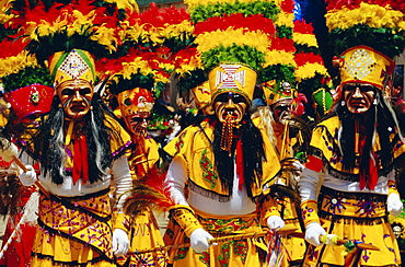 A group of Tobas performing the Devil Dance - La Diablada, during the carnival, Oruro, Bolivia, South America