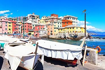 View of the fishing village of Boccadasse, Genoa, Liguria, Italy,