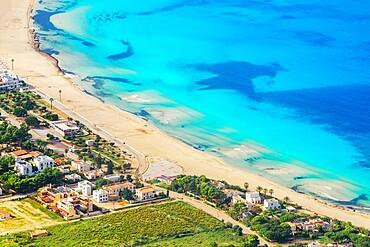 High angle iew of San Vito Lo Capo village and beach, San Vito Lo Capo, Sicily, Italy