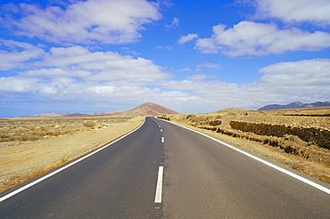Road through volcanic landscape near Tiscamanita, Fuerteventura, Canary Islands, Spain, Atlantic, Europe