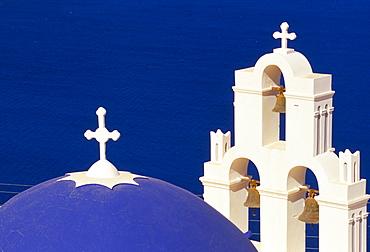 Dome and bell tower of St. Gerasimos Christian church, Thira, Santorini (Thira), Cyclades islands, Mediterranean, Europe