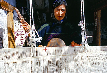 Local weaver spinning wool, Lassithi Plateau, island of Crete, Greece, Mediterranean, Europe