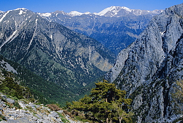 View over the Samaria Gorge and surrounding mountains, Crete, Greece