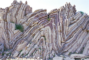Stratified rock at Agio Pavlos in southern Crete, island of Crete, Greece, Mediterranean, Europe