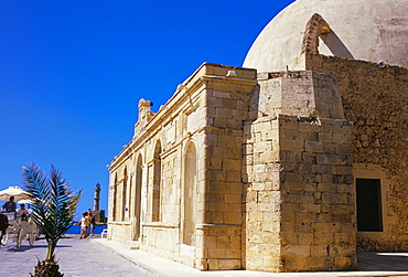 Turkish mosque on the Hania promenade, Hania (Chania), island of Crete, Greece, Mediterranean, Europe