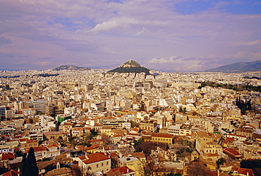 View of the city of Athens seen from the Acropolis, Athens, Greece