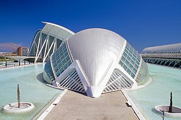 Hemispheric planetarium and cinema, City of Arts and Sciences (Ciudad de las Artes y las Ciencias), architect Santiago Calatrava, Valencia, Spain, Europe