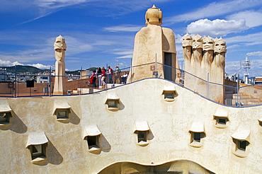 View of Gaudi's Casa Mila modernist roof terrace, La Pedrera, Barcelona, Catalonia (Cataluna) (Catalunya), Spain, Europe