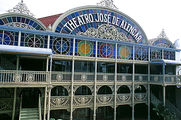 Theatro Jose de Alencar (theatre), a pastel coloured hybrid of classical and art nouveau architecture, Fortaleza, Ceara', Brazil, South America