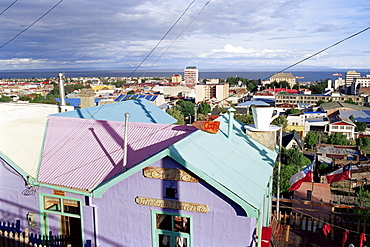 Colourful house and the city, Punta Arenas, Magallanes, Patagonia, Chile, South America