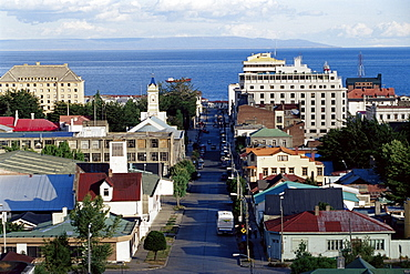 Aerial view of the city, Punta Arenas, Magallanes, Patagonia, Chile, South America