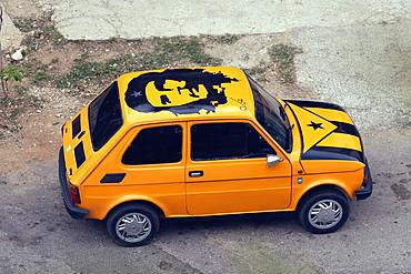 Customised Fiat 126 car with Che Guevara image, Vedado, Havana, Cuba, West Indies, Central America