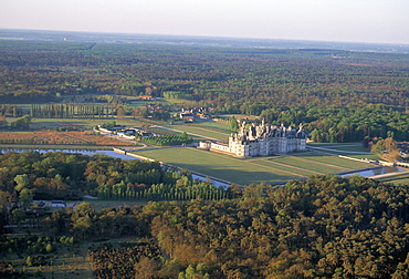 Aerial view of the Chateau of Chambord, UNESCO World Heritage Site, Route of Francois 1er (Francis 1st), Pays de Loire, Loire Valley, France, Europe