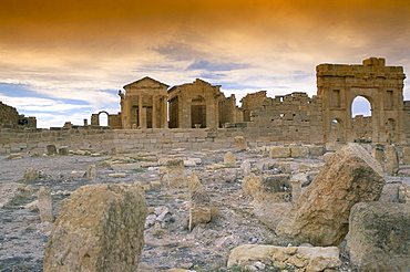 Capitol with three separate temples to Jupiter, Minerva and Juno, archaeological site of Sbeitla (Sufetula), Tunisia, North Africa, Africa