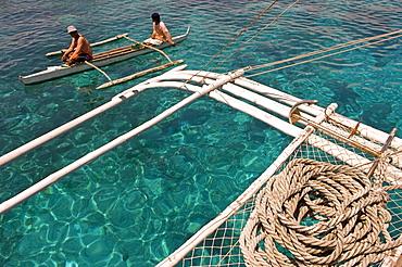 Traditional boat, Pandanon Island, Nalusuan Marine Sanctuary, Cebu island, The Philippines, Southeast Asia, Asia