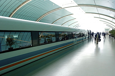 The Maglev, the world's fastest train with a maximum speed of 430 km an hour, from Pudong International Airport to the Long Yang Road subway station, Shanghai, China, Asia