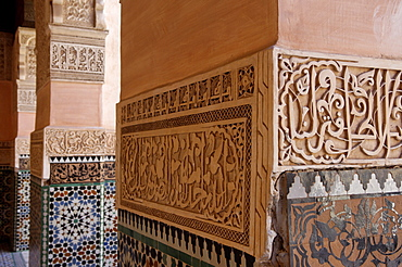 The Medersa Ben Youssef, the largest in Morocco, built by the Almoravide dynasty and then rebuilt in the 19th century, richly decorated in marble, carved wood and plasterwork, Medina, Marrakesh, Morroco, North Africa, Africa