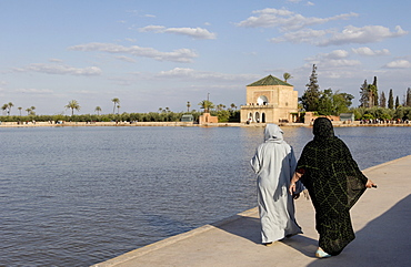 The Menara gardens, where the Almoravides built a huge pool in the center of the gardens in the 12th century and the pavilion dates back to the time of the Saadians, Marrakesh, Morocco, North Africa, Africa