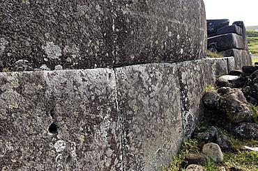 Ahu Tahira, rectangular stone platforms on which moai statues stood, Vinapu, Easter Island, Chile, South America