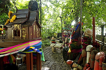 Formerly built to re-house the spirit from the ficus tree, donations of phallic symbols have resulted in the shrine being dedicated to fertility, Chao Mae Tuptim (Shrine of the Goddess Tuptim), Bangkok, Thailand, Southeast Asia, Asia