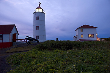 The lighthouse of L'Ile Verte (Green Island), estuary of the St. Lawrence River, Quebec Province, Canada, North America