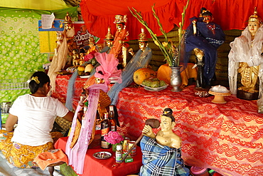 Nats altar during the Yadanagu Nats Festival, Amarapura, Mandalay Division, Republic of the Union of Myanmar (Burma), Asia