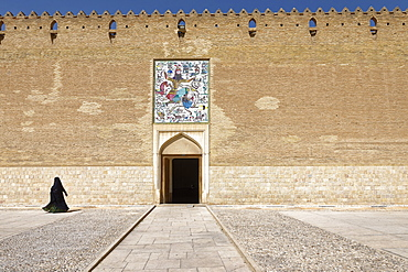 The Karim Khan Castle, panel of tiles above the entrance to the citadel, Rostam killing the white demon, Shiraz, Iran, Middle East