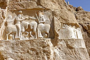 Bas relief showing the investiture of Ardashir I, Naqsh-e Rostam necropolis, Persepolis area, Iran, Middle East